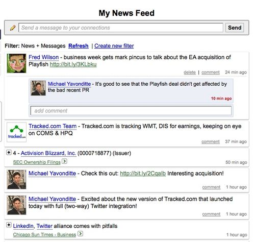Tracked news feed