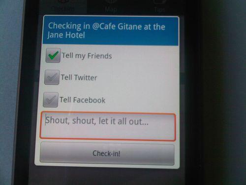 Foursquare checkin screen