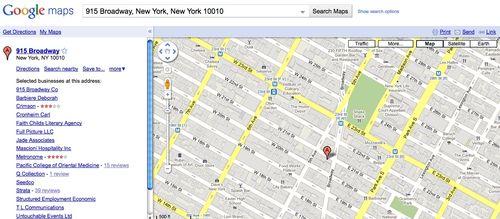 Google maps result