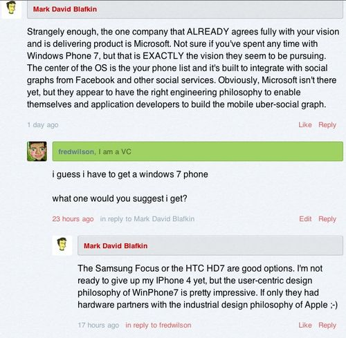 Windows phone 7 comment