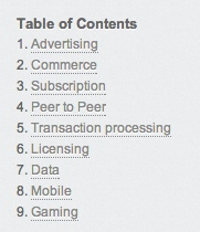 Hackpad table of contents