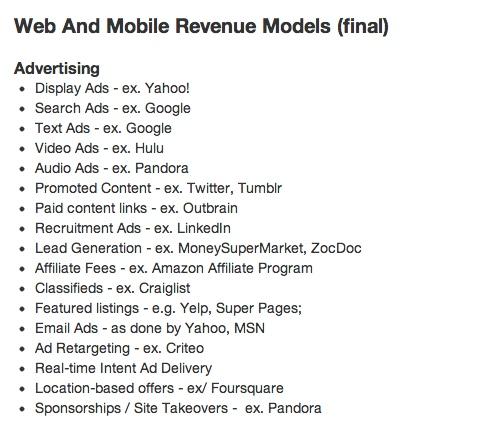 Various ad models