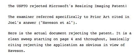 Resizing patent rejection