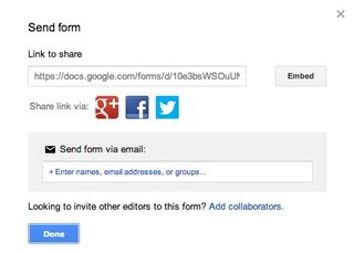 Google send form box