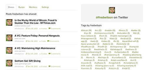 Fred's profile on usv