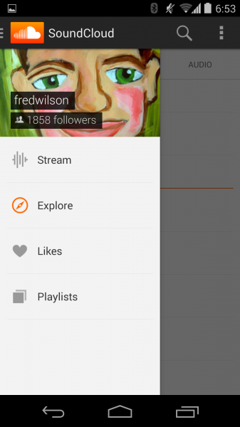 soundcloud menu