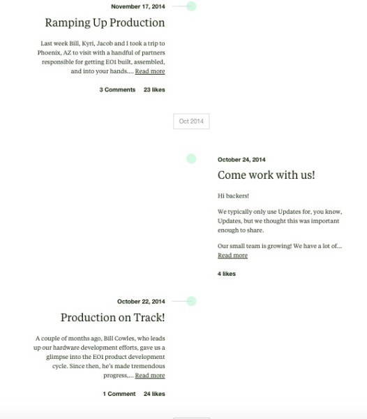 electric objects timeline