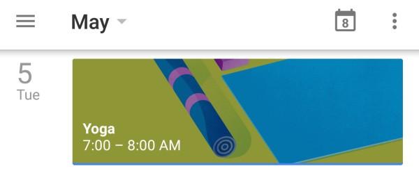 yoga mat on calendar