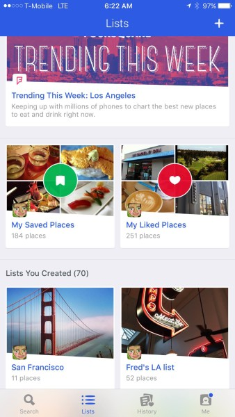 foursquare trip tips in my list tab